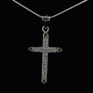 Silver cross with tiny zircons